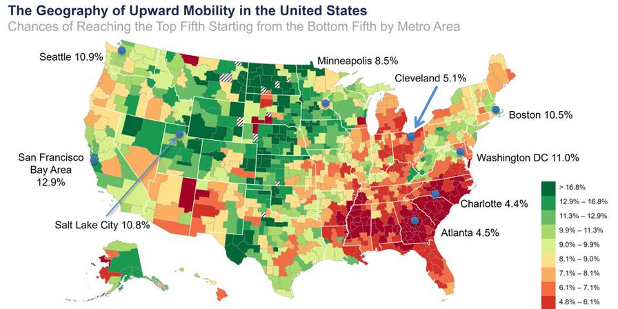 Income inequality map shows where Americans have most upward mobility