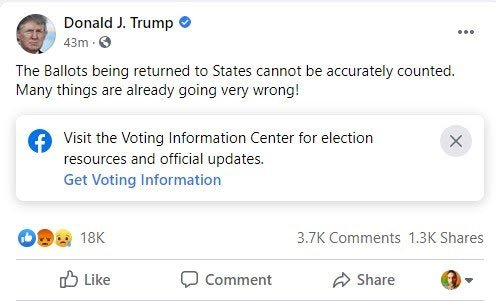 Facebook pledged to remove misinformation about voting posted by Trump. It's not following through.  - Popular Information