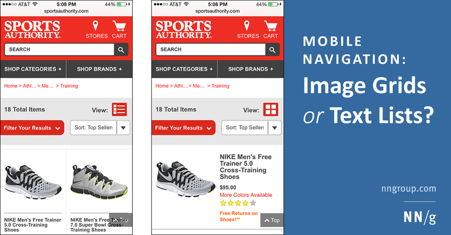 Mobile Navigation: Image Grids or Text Lists?